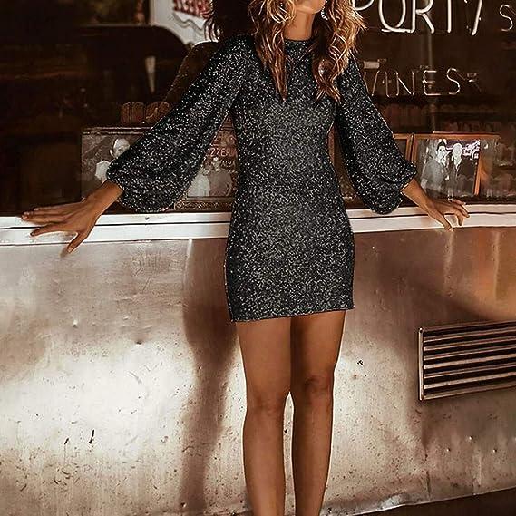 Elegancka sukienka z długim rękawem, seksowna, na wesele, cekiny, na imprezę: Odzież