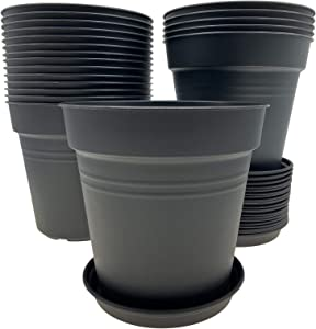 FAATCOI 20 PCs 6.7 Inch Plastic Plant Pots, Flowerpots for Indoor Plants with Drainage Holes and Trays,Plastic Planter Pots for Home Garden Flowers Vegetables Succulents, Deep Grey