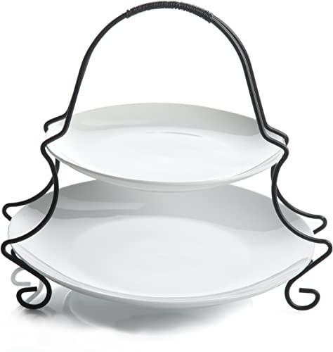 Gibson Elite 101998.03RM Gracious Dining 2 Tier Serving Set with Metal Rack, White