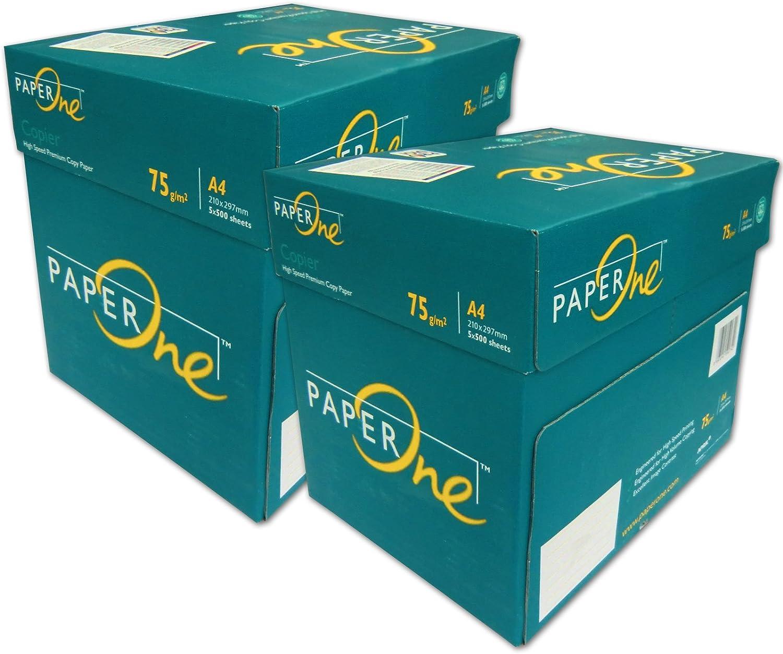 PaperOne 5000 Folios para impresión DIN A4 Papel de Marca Color Blanco para FOTOCOPIADORAS, IMPRESORAS, Papel Universal: Amazon.es: Oficina y papelería