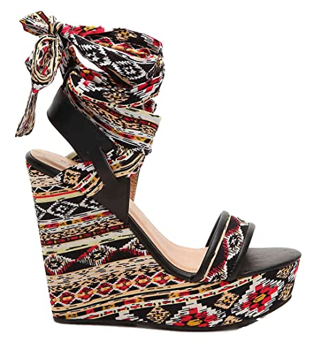 5a41018bf9e2 Bamboo Charade 24 M Womens Wrap Around Fabric Lace Wedge Platform Sandals  Black Multi 5.5