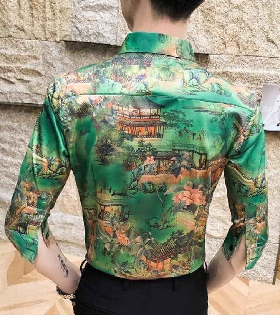 Generic Mens Luxury Short Sleeve Hawaiian Print Button Down Shirt