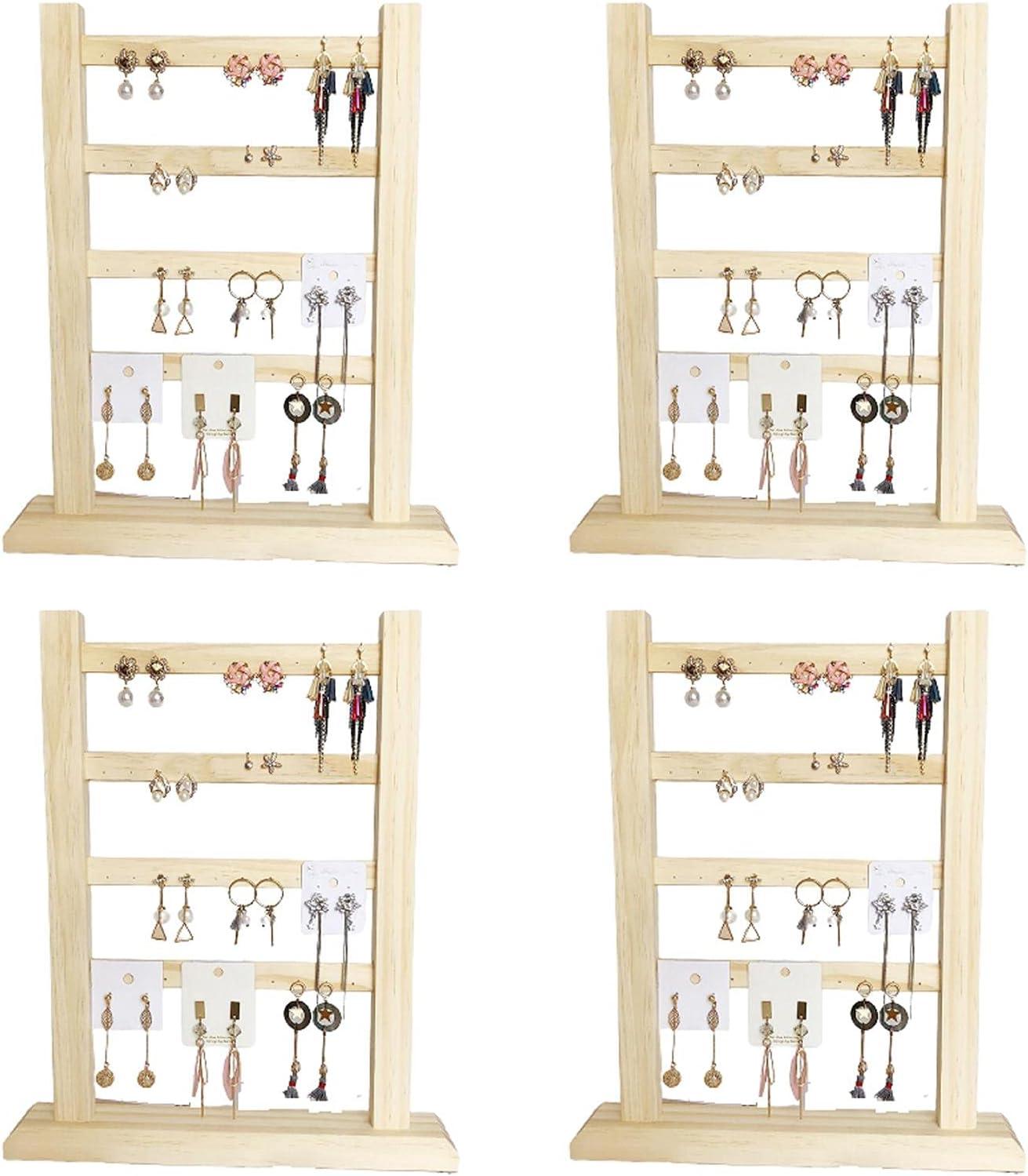 Honton 4 soportes para aretes, soporte para pendientes, soporte para joyas, organizador de pendientes con base de madera para pendientes, pendientes