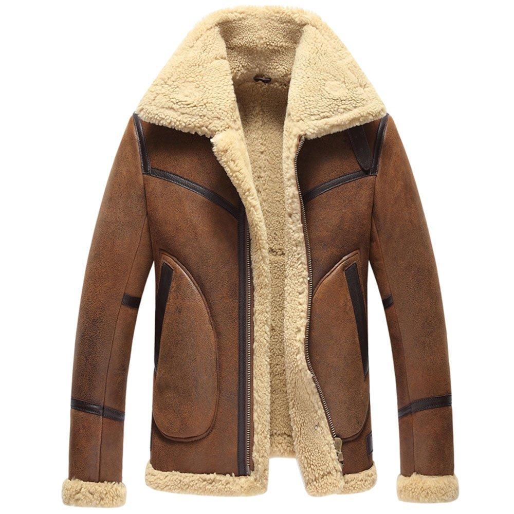 Manyfurs Winter men's sheepskin fur integrated cotton boots motorcycle coats