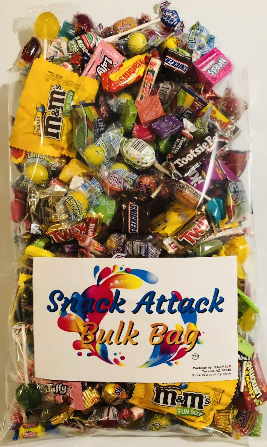 Assorted Candy Pinata Party Mix, 5 LB Bulk Bag: Skittles, Reeses, Life Savers, Nerds, Charms Blow Pop, Jaw Busters, Laffy Taffys, Twix, Snickers, Jolly Rancher, Tootsie Rolls, m&m's and Much More! by Snack Attack TM