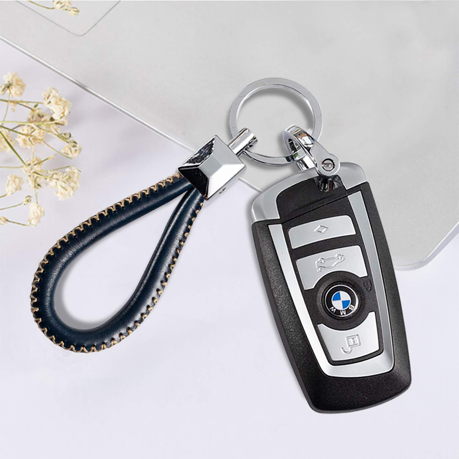 KeyChain Master 2Pack Genuine Leather Car Keychain with Logo,Handmade Leather Car Key Chain