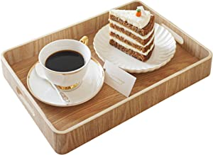 """Nonslip Wood Serving Tray with Handles for Serving Food and Drinks. 14.5"""" Rectangular Tray for Ottoman. Anti-Slip Food Serving Tray with Handles. Wooden Nonslip Food Serving Trays (14.5"""" Rectangle)"""