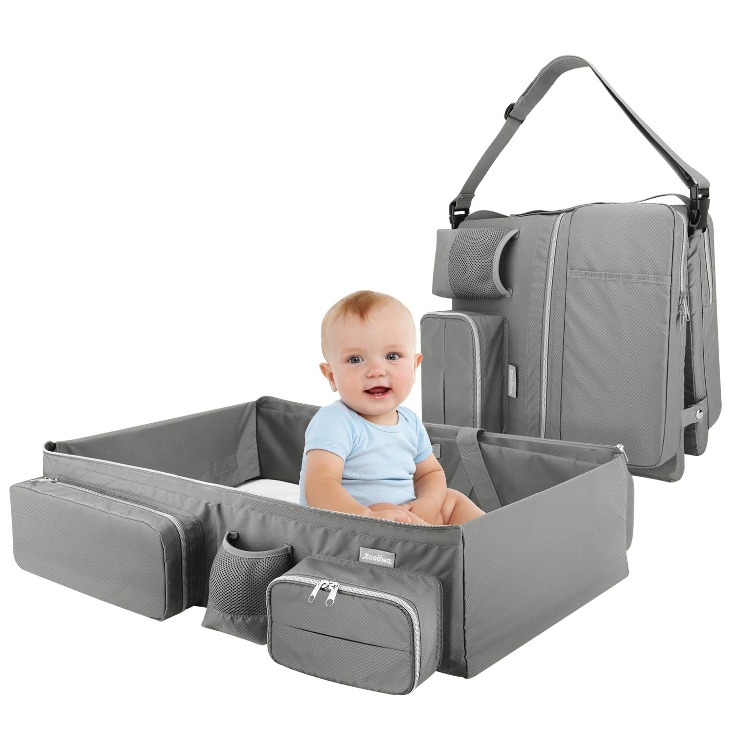 Zooawa Foldable Travel Bassinet, 3-in-1 Diaper Bag Portable Collapsible Bassinet and Travel Changing Station for Home Travel Outdoor Use, Gray by Zooawa