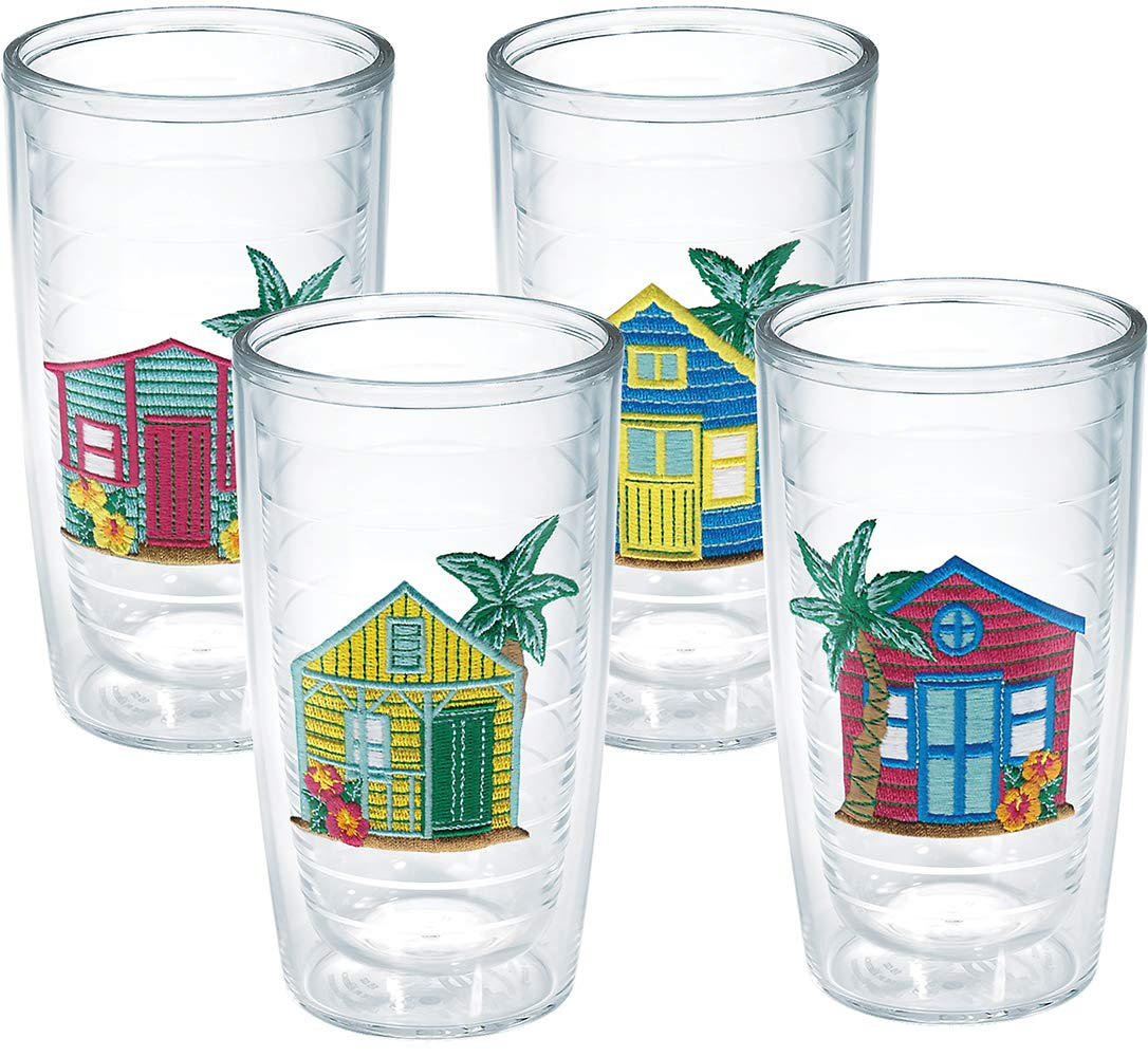 Tervis 1072128 Beach House Insulated Tumbler with Emblem 4 Pack - Boxed, 16oz, Clear