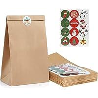 Kesoto Set di 48 Sacchetti di Carta Kraft + 48 Natalizi Adesivi di Tenuta Sacchetti di Carta per Alimenti, Regalo di Natale, 27 x 15 x 9 CM