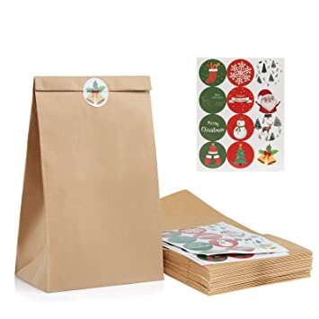 Kesoto 48 Christmas Kraft Paper Bags + 48 Christmas Sealing Stickers for Christmas Gift Wedding...