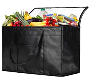 NZ Home XXL Insulated Grocery Bag, Hot & Cold Food Delivery Bag, Light Weight, Collapsible, Washable, Heavy Duty, Stands Upright, Completely Reinforced Bottom & Handles (1 Pack, Black)