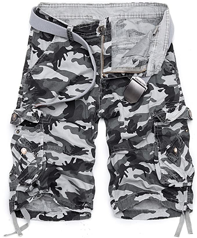 K3K Mens Cotton Multi Pocket Twill Cargo Outdoor Wear Lightweight Camo Shorts