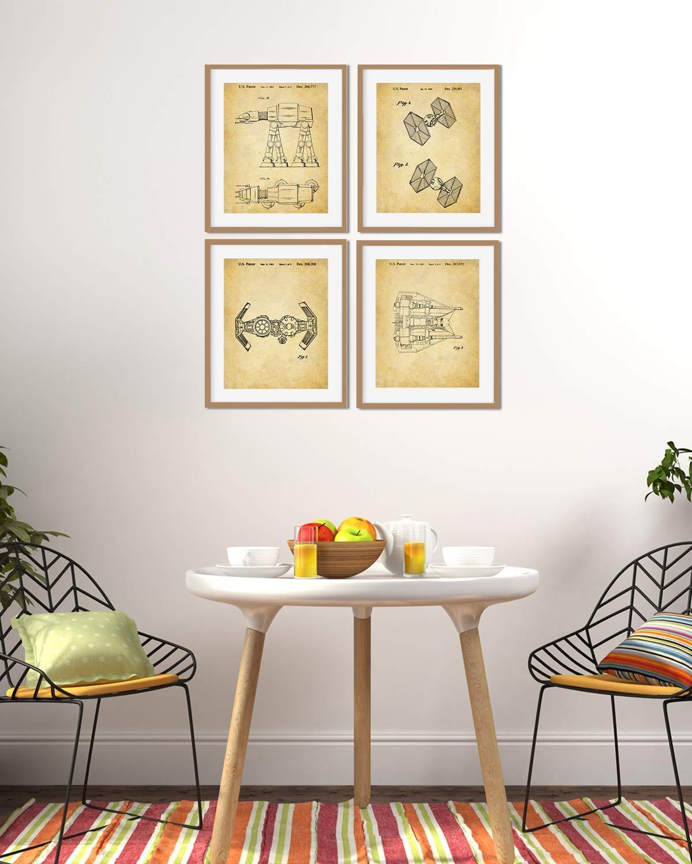 set of Four 8x10 Unframed wall art decor for Star Wars fans Star Wars Patent Wall Art Prints