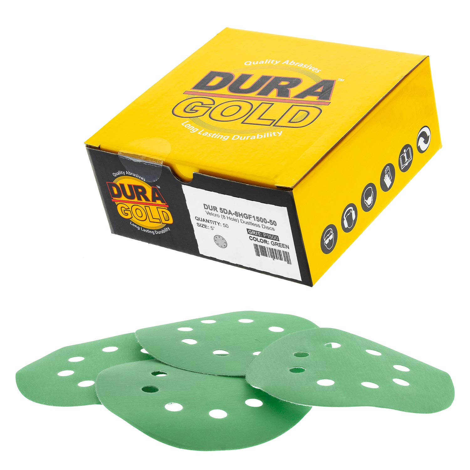 Dura-Gold - Premium - 1500 Grit - 5'' Green Film Sanding Discs - 8-Hole Dustless Hook and Loop for DA Sander - Box of 50 Finishing Sandpaper Discs for Woodworking or Automotive