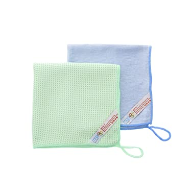 MojaWorks - Microfiber Glass Cleaning Cloths - 2 Pack, Cleans Glass, Windows & Mirrors, Great for Bathroom & Kitchen Best Absorbent Glass Cloth & Finish Cloth for a Perfect Shine