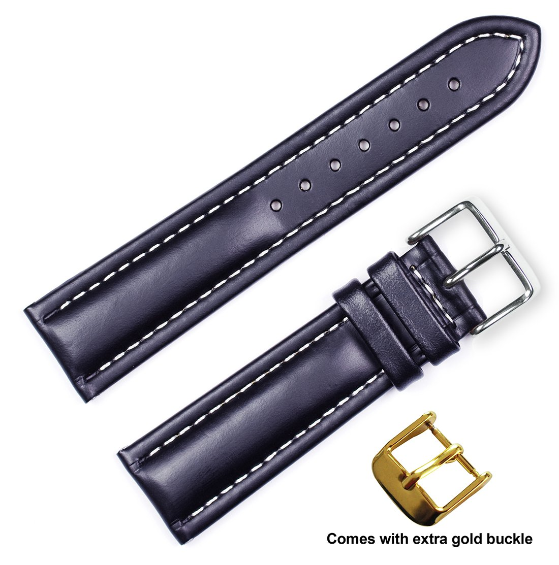 Breitling Style Oil Tanned Leather Watch Band (ロング丈) (18、20、または22 mm) (シルバー&ゴールドバックル) 22mm ブラック 22mm|ブラック ブラック 22mm B06XD4DSYL
