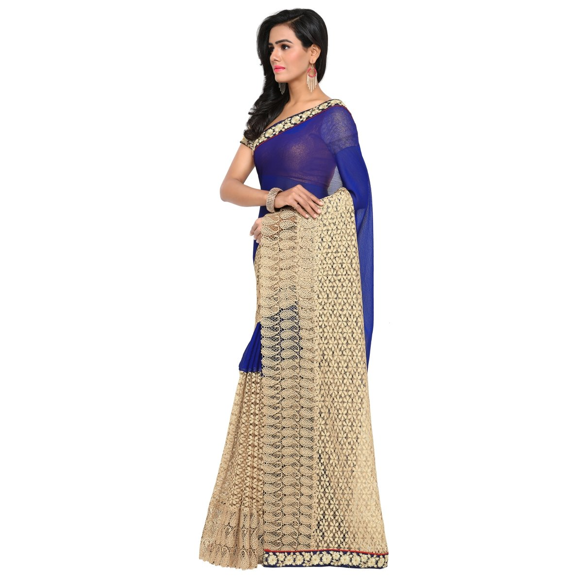 f1221092ce Aagaman Fashions Indian Women's Blue Chiffon Embroidered Saree, Sari: Amazon .co.uk: Clothing