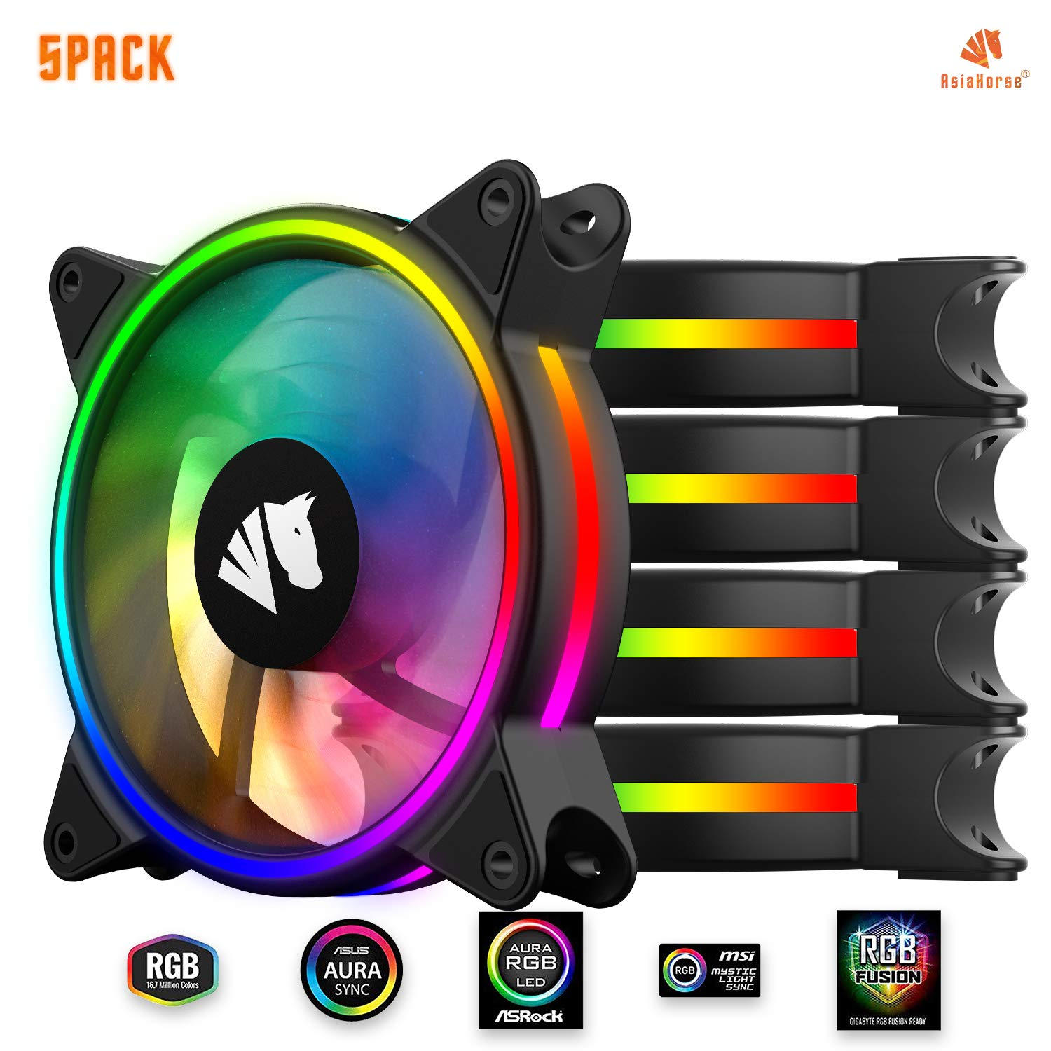 Asiahorse MS-9002 120mm ARGB Music case Fan(in and Outside Light efect) Adjustable Speed 800-1500 RPM Synchronizable RGB Lighting via motherboard-5PACK by AsiaHorse