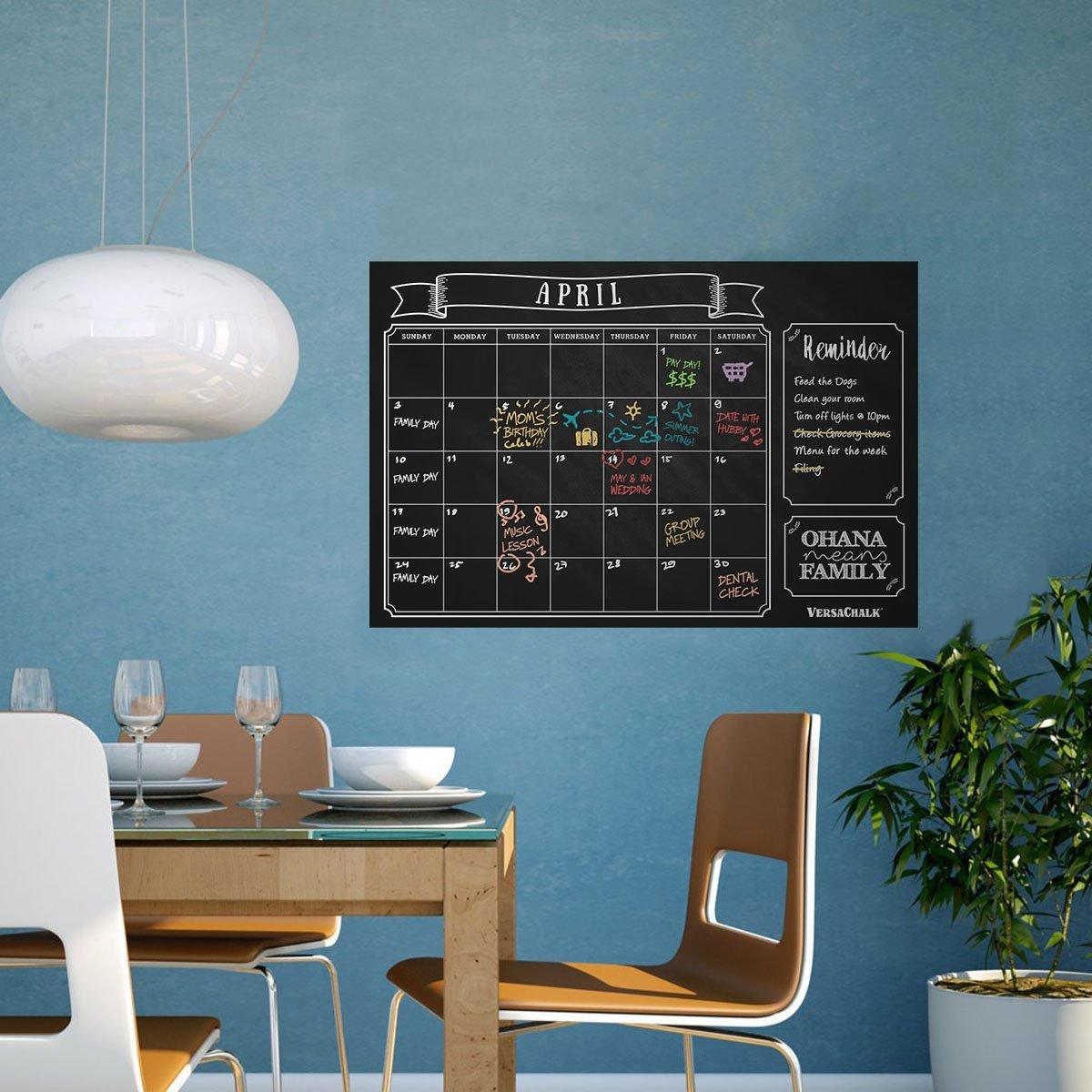 Amazon.com : Large Erasable Chalkboard Calendar Wall Decal Sticker ...