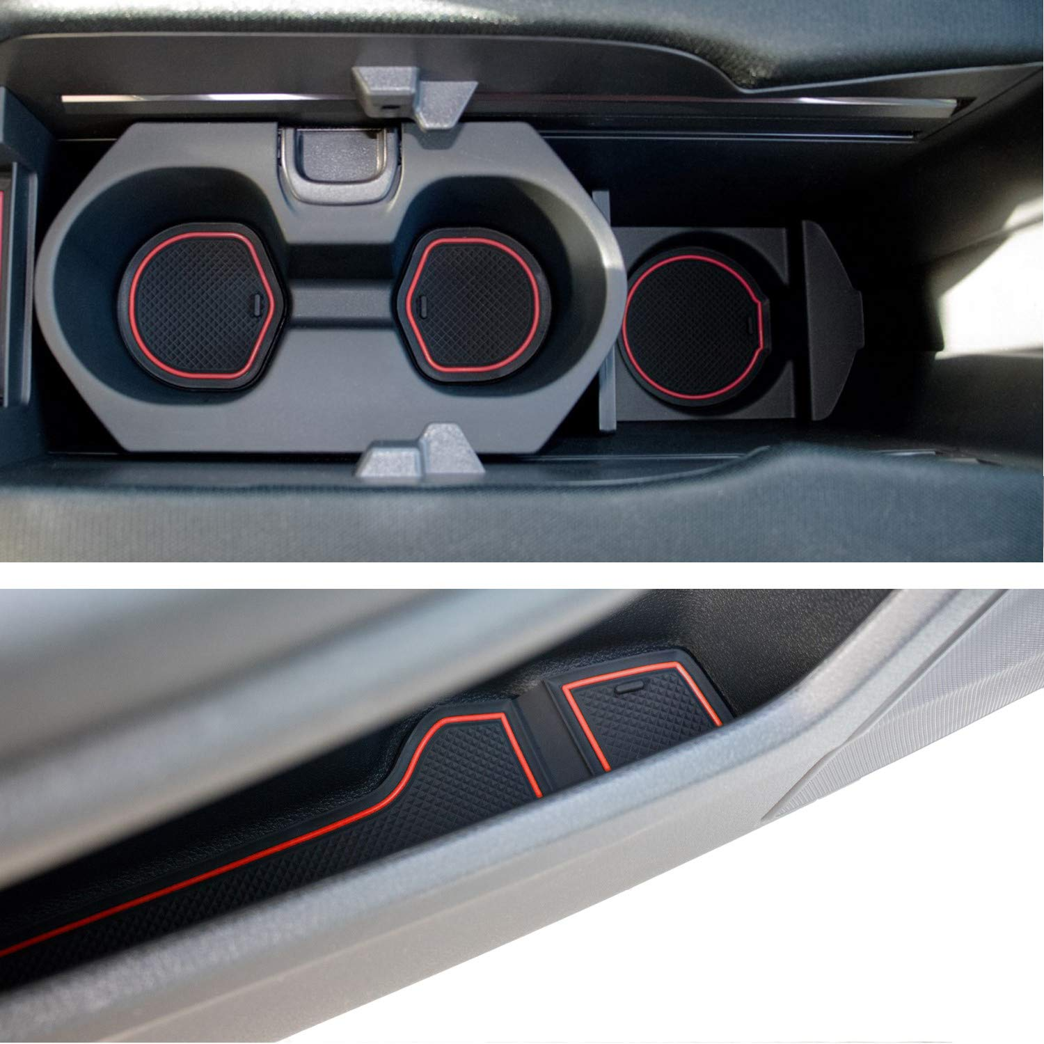 Custom Fit Cup Holder and Door Compartment Liner Accessories for Honda  Civic 2018 2017 2016 15-pc Set (Front Seat, Red Trim)