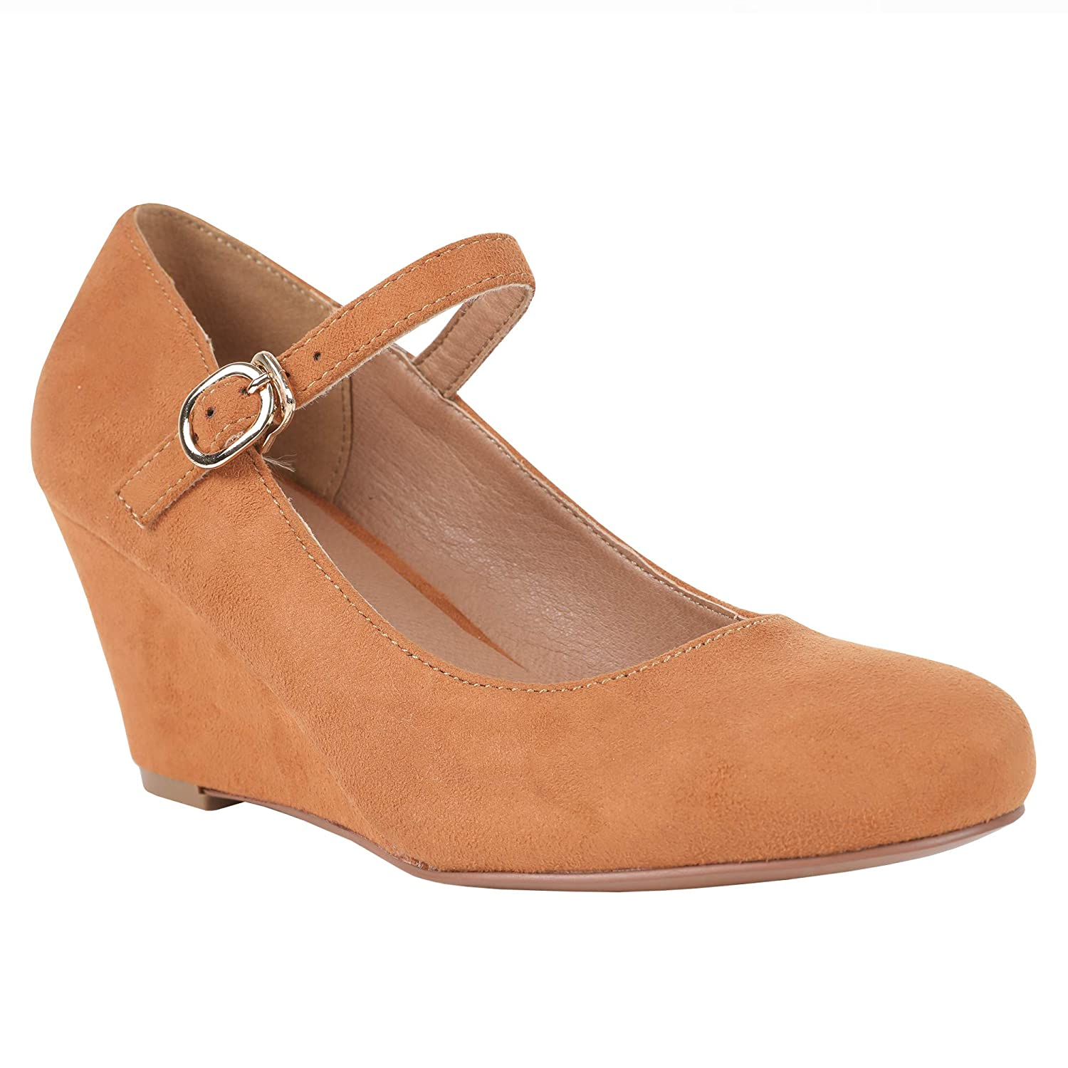 Brown Womens Mary Jane Wedge Pumps Closed Toe Ankle Strap Mid Heel Office Work shoes