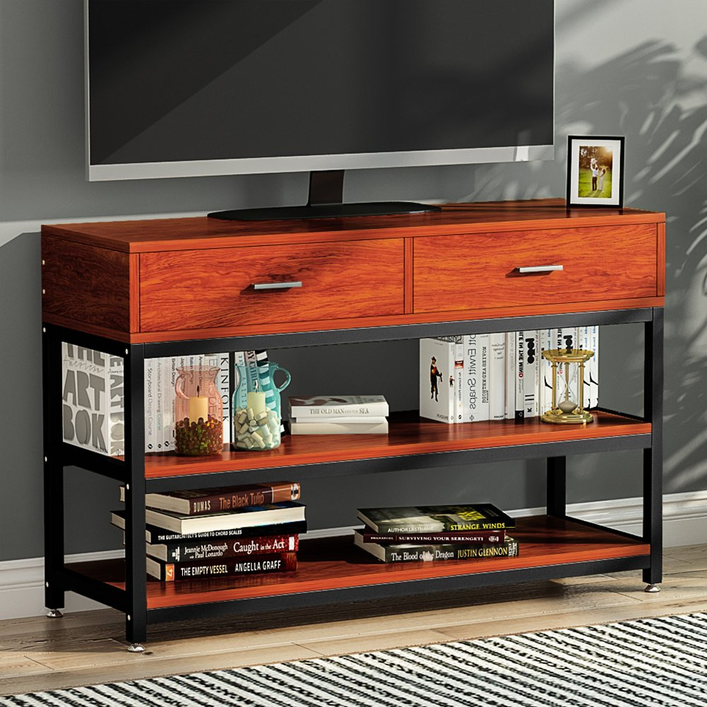 LITTLE TREE TV Stand, Entertainment Center with Two Drawers, Solid Storage Stand with Metal Legs, for Small Apartment, Cherry