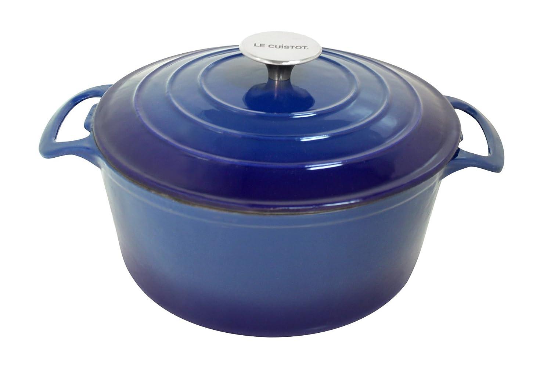 Le Cuistot Vieille France Enameled Cast-Iron 3.5 Quart Round Dutch Oven - 2 Tone Blue Orly