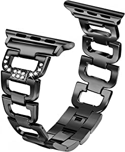Secbolt Bling Bands Compatible Apple Watch Band 38mm 40mm iWatch Series 6 5 4 3 2 1 SE Women Dressy Jewelry D-link Stainless Steel Wristband Strap, Black