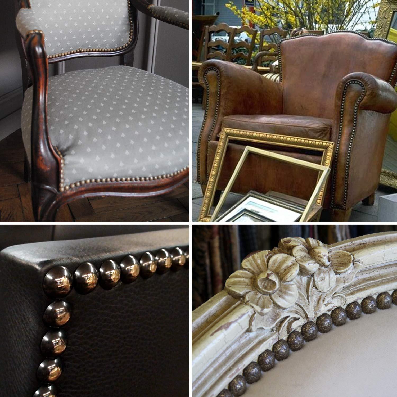 ✮GARANTÍA DE POR VIDA✮-CZ Store®- Chincheta tapicera|150 UNIDADES| Chincheta tapicera 17X11 MM- chincheta tapicera de latón para sillón/muebles/ cama ...