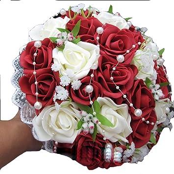 Amazon De Xiangshang Shangmao Hochzeit Brautstrauss Wein Rot Rosen