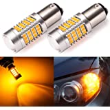 ENDPAGE 1157 2057 2357 7528 BAY15D LED Bulb 2-pack, Amber Yellow, Extremely Bright, 54-SMD with Projector Lens, 10-30V, Work as Turn Signal Blinker Lights
