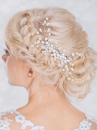 Tocado Aukmla con detalles brillantes para novia, peineta de boda con perlas y diamantes de imitación para mujeres y niñas: Amazon.es: Belleza