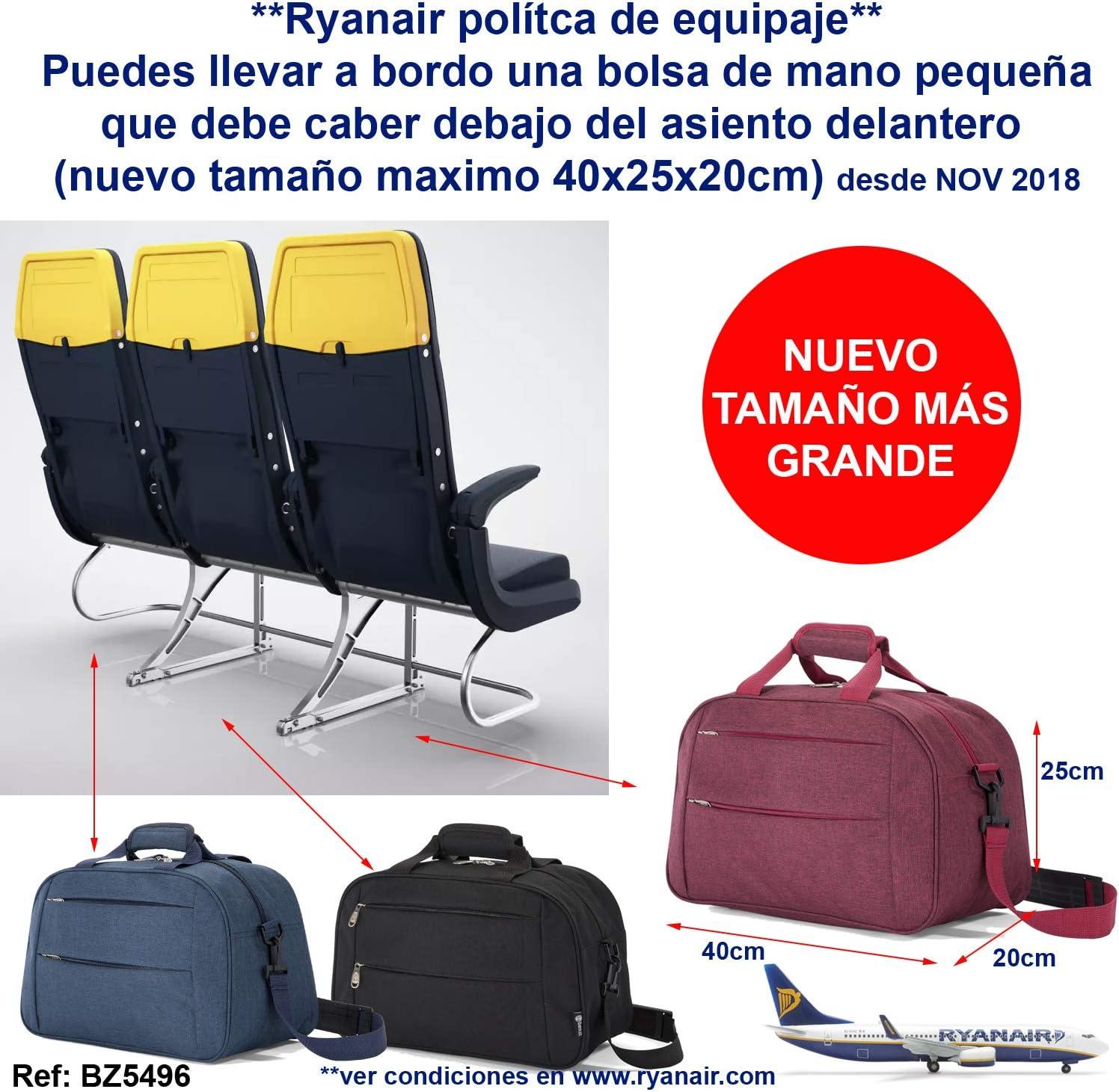 Benzi Bolsa de Viaje 40 x 25 x 20 cm Tamaño Equipaje de Mano Ryanair (5496 Azulx2): Amazon.es: Equipaje