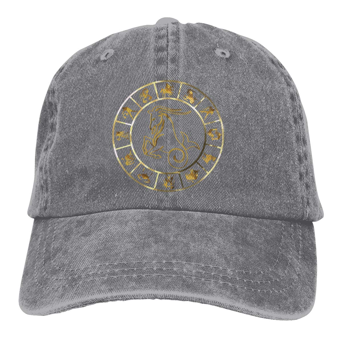 Golden Zodiac Signs On The Starry Sky Classic Unisex Washed Cap Adjustable Dads Denim Stetson Hat