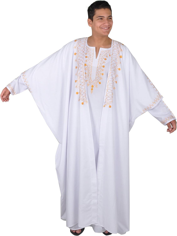 Dos Piezas de Cabeza Jeque Disfraz, Caftán con Capa, Color: Blanco ...