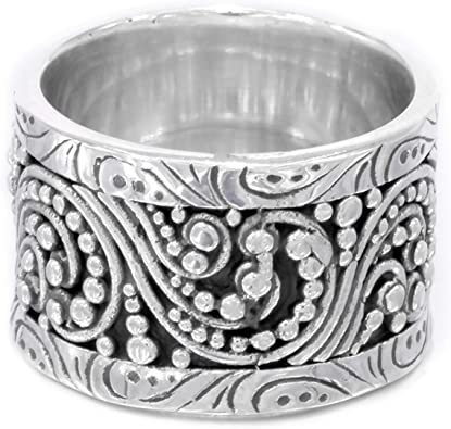WIDE HANDMADE BALI RING  ALL Genuine Sterling Silver.925 Stamped Size 9