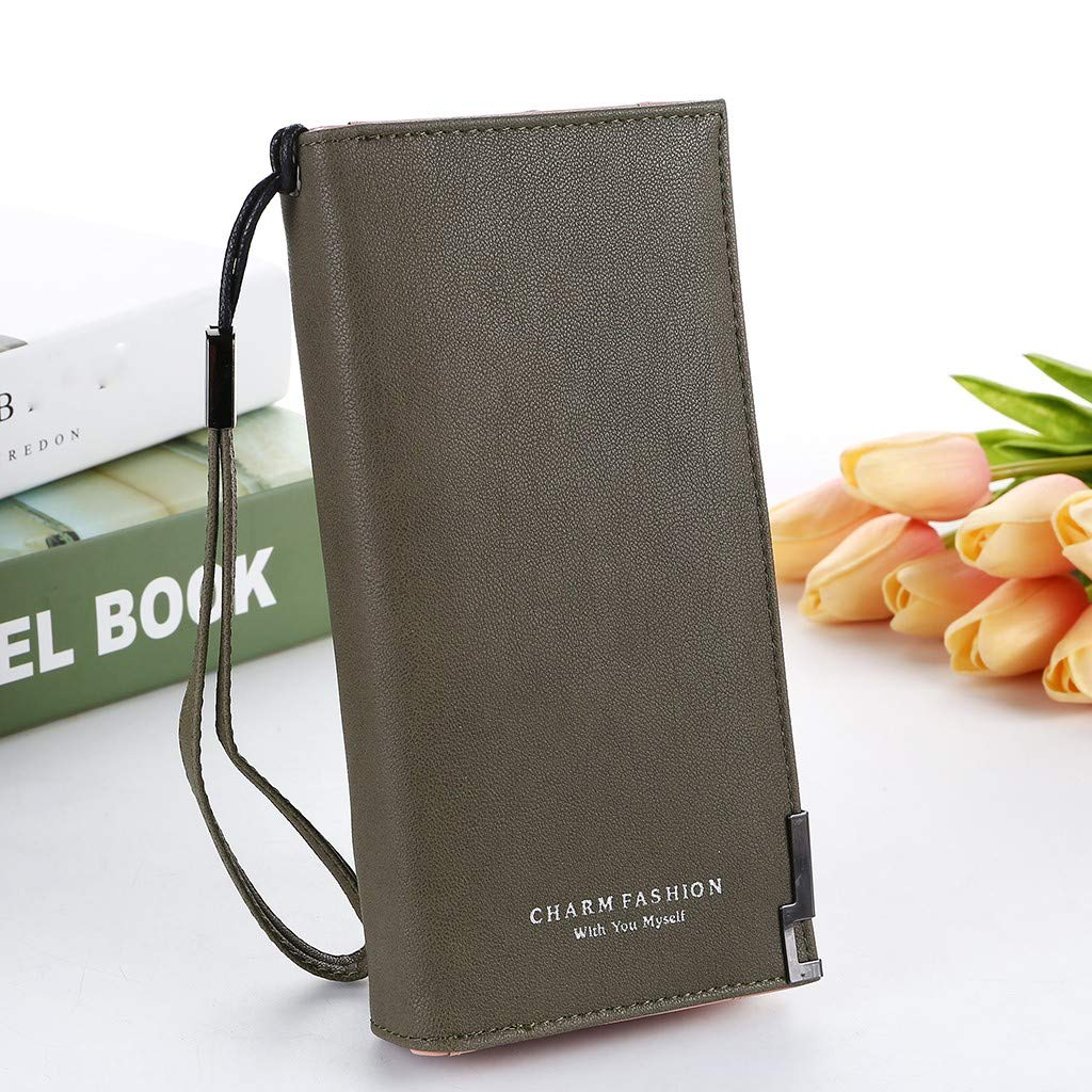JoCome Womens Zipper Blocking Large Capacity Luxury Waxed Faux Leather Clutch Wallet Multi Card Organizer