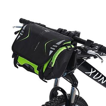 Dioche Bicicleta Bolsa para Manillar, Impermeable Alforjas Bolsa Moto Bicicleta Manillar Montaje Soporte Impermeable Solo Bolso de Hombro(Black+Green)