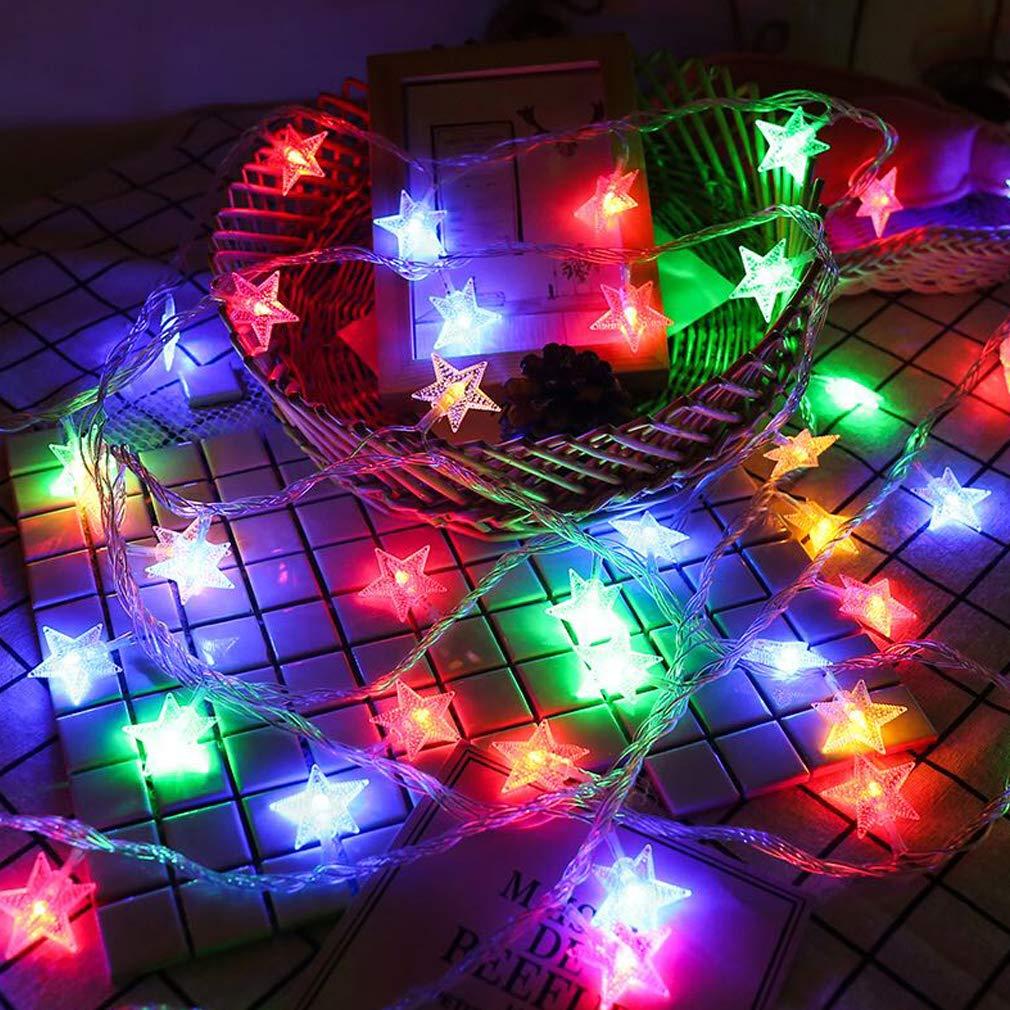 LONJYI スターストリングライト LEDフェアリーライト USB電源 LEDキラ星ランプ ホームガーデンパーティー 結婚式 誕生日 クリスマス 屋内屋外装飾, 19.6ft/6m B07GLPGH93 19.6ft/6m|マルチカラー マルチカラー 19.6ft/6m