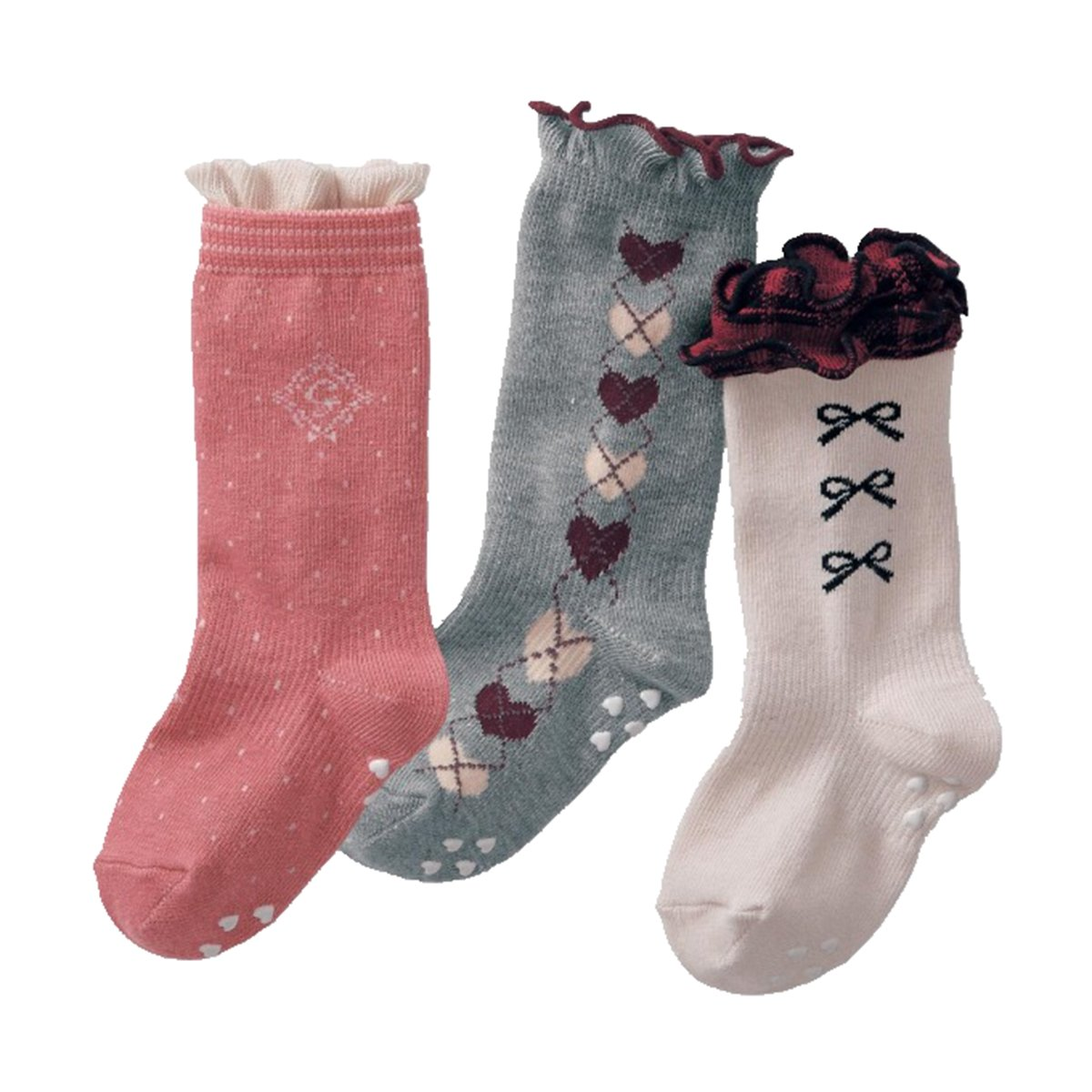 Baby Girls Non Skid Cotton Colorful Lace Toddler Socks Knee High Socks 3-Pairs
