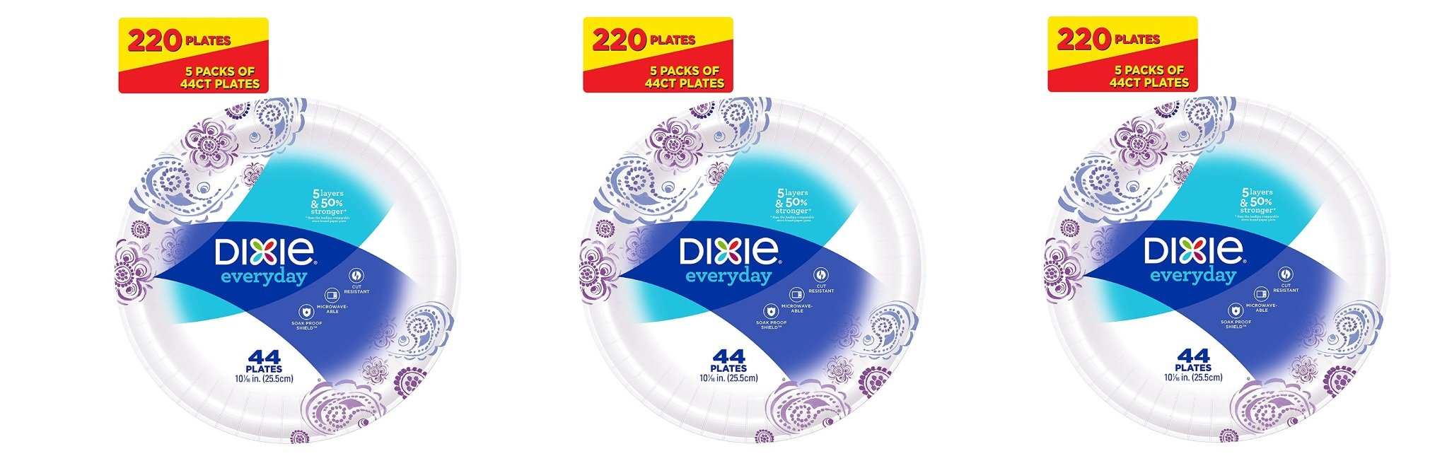 Dixie Everyday Paper Plates, 10 1/16 Inches kNWoLG, 3Pack of 220 Plates by DIXIE