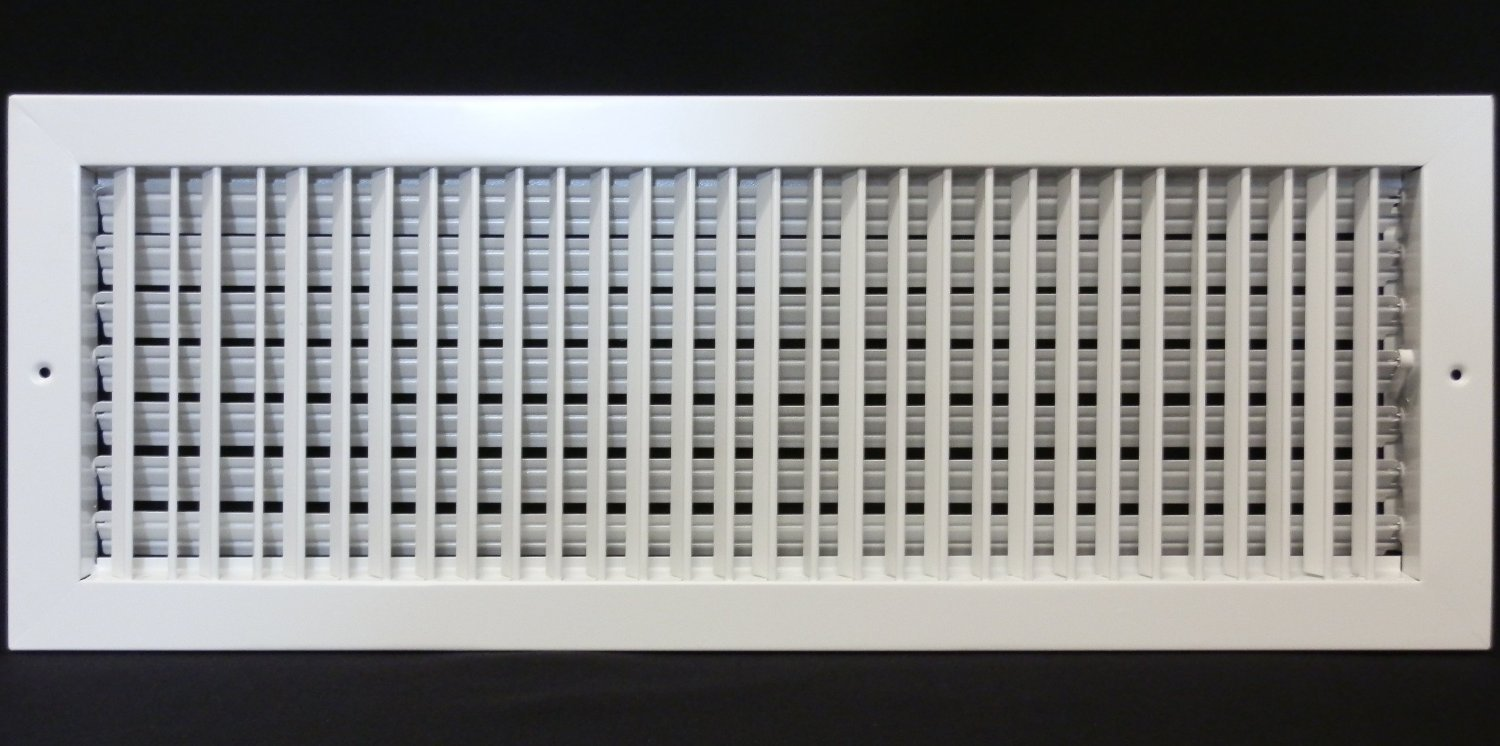24'' X 12'' ADJUSTABLE AIR SUPPLY DIFFUSER - HVAC Vent Duct Cover Sidewall or Cieling - Grille Register - High Airflow - White