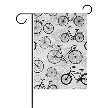 JSTEL Home Bicycle Back And White Pattern Polyester Fabric Garden Flags  Lovely And Mildew Resistant Custom Of Waterproof 12 X 18 Inch