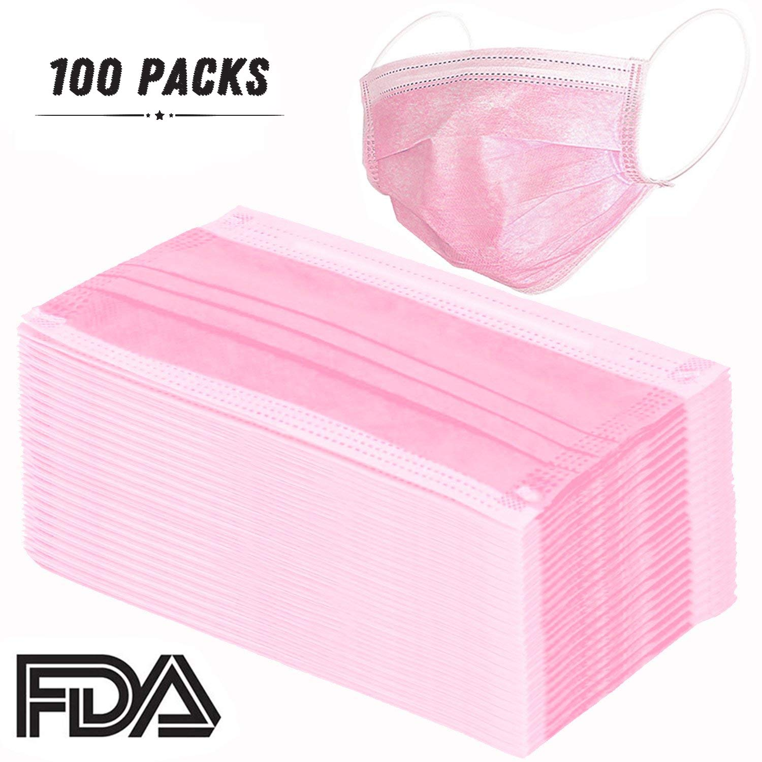 100 Pcs Disposable Earloop Face Masks Dental Surgical Hypoallergenic Breathability Comfort-Great for People with Allergies and The Flu(Pink)