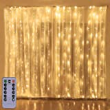 300LED Copper Wire Curtain Lights with Remote, 8 Modes DIY Pattern Flexible String Lights, Window and Wall Decorations for Ga
