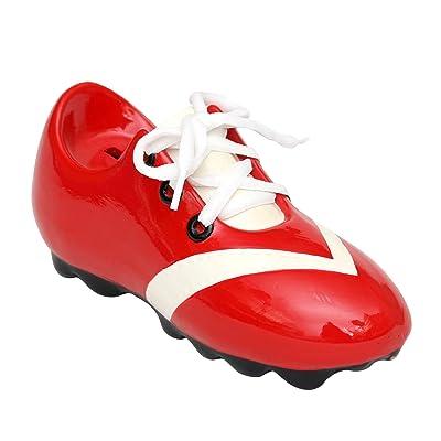 Alcancia en forma de zapato de fútbol con cordones tamaño 21 x 8 x 9,5cm rojo y blanco: Hogar