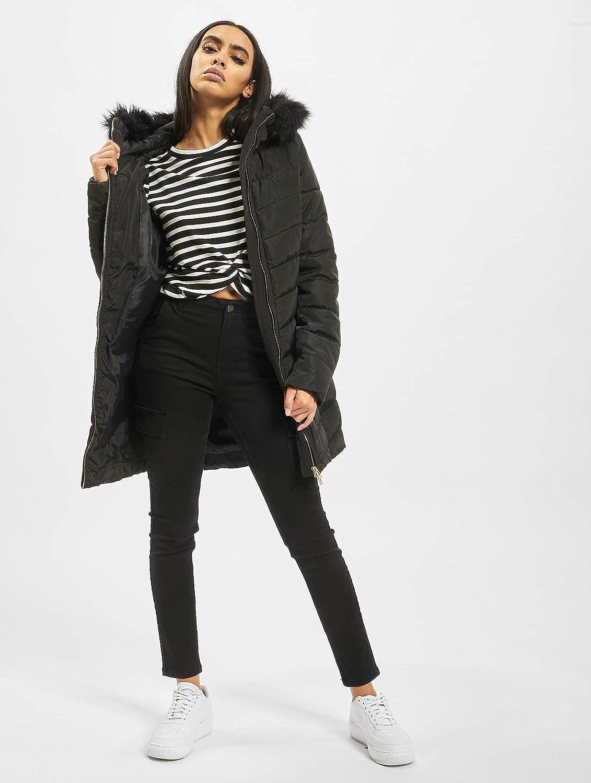 Only Onlellan Quilted Hood Fur Coat OTW Manteau Femme