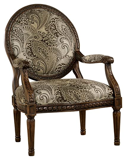Ashley Furniture Signature Design   Martinsburg Accent Chair   Round Back    Vintage Style   Brown
