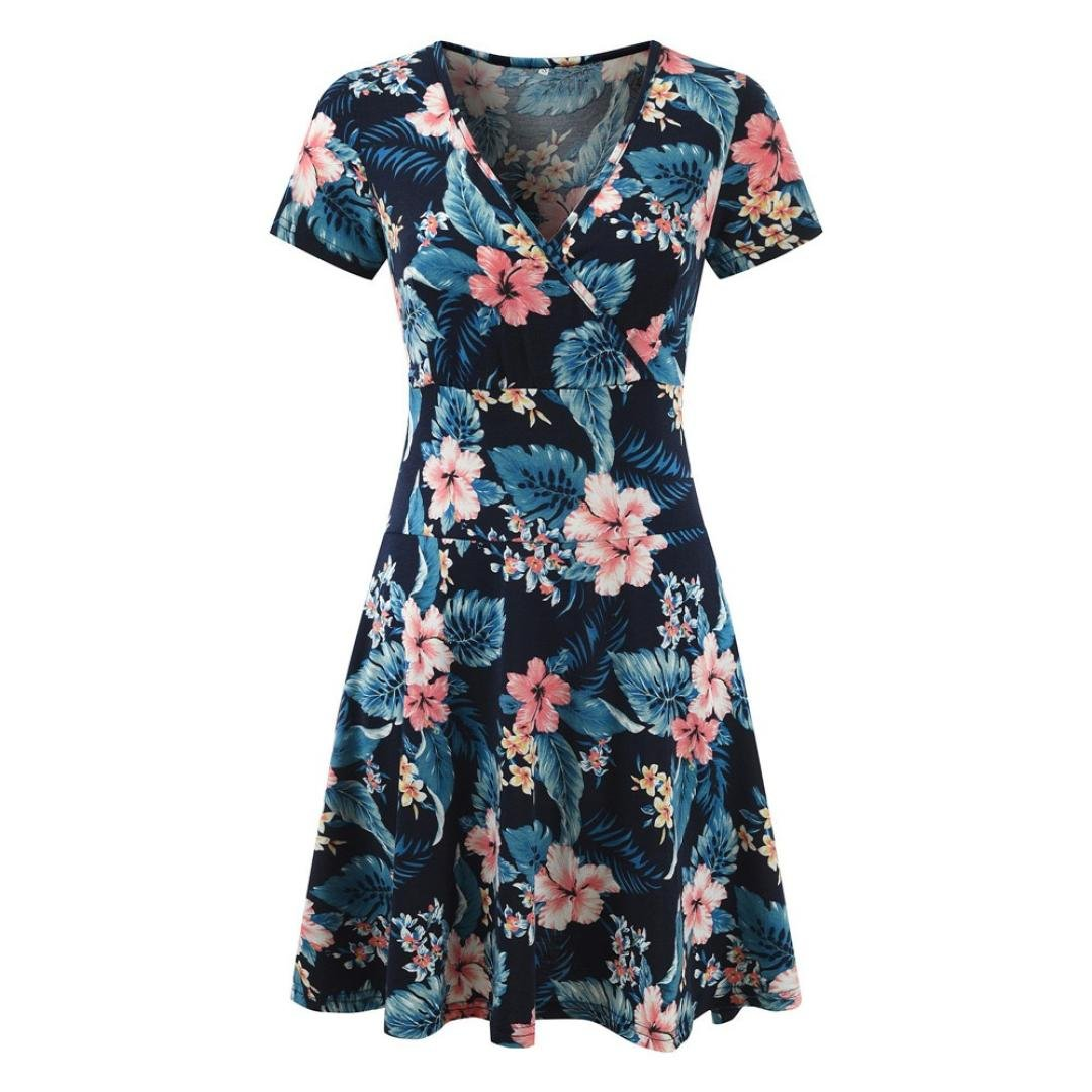 Mini Dress,Women's V-Neck Cap Sleeve Floral Print Casual Work Stretch Swing Dress (Blue, S) by Shybuy